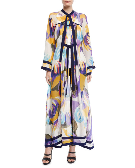 Tallulah Tie-Neck Long-Sleeve Mika-Print Silk Robe