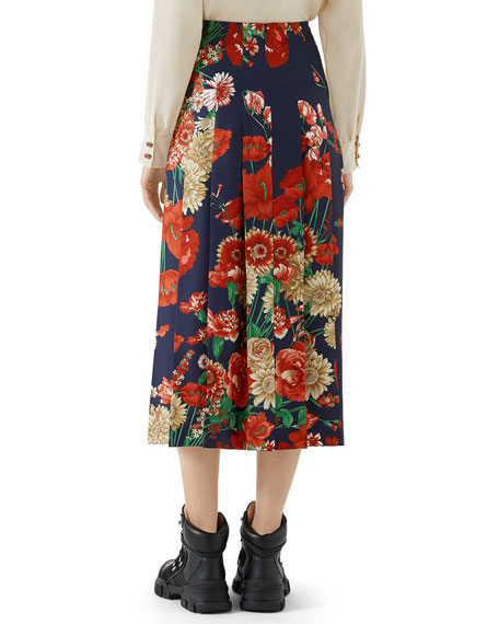 Pleated Spring Bouquet Silk Skirt