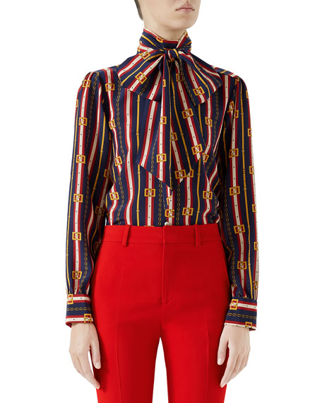 Gucci Bow-Neck Long-Sleeve Button-Front Silk Crepe de Chine