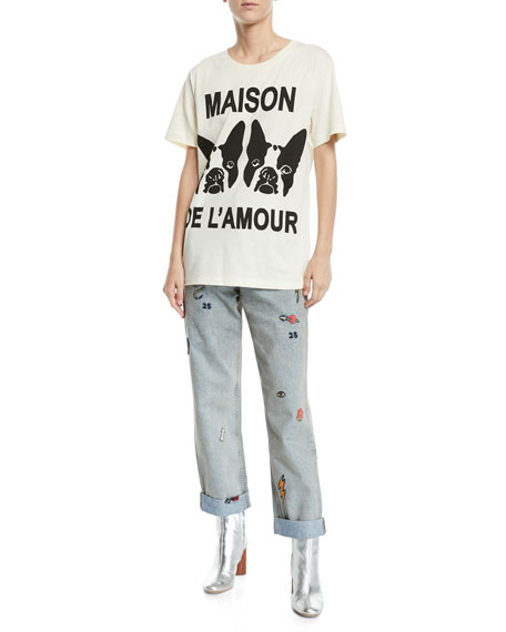 High-Waist Marble-Washed Straight-Leg Denim Jeans w/ Assorted Embroidery
