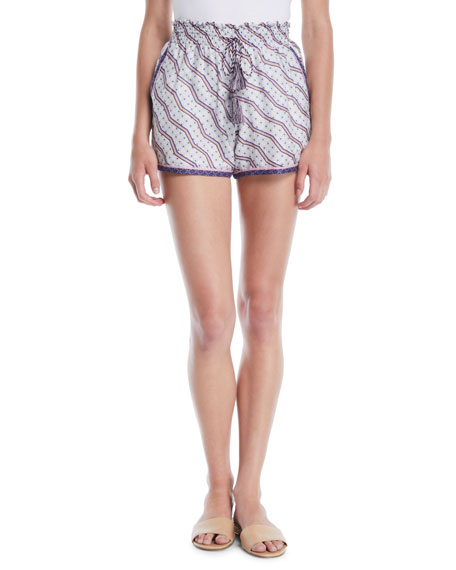 Zigzag Print Ruched Silk-Cotton Shorts