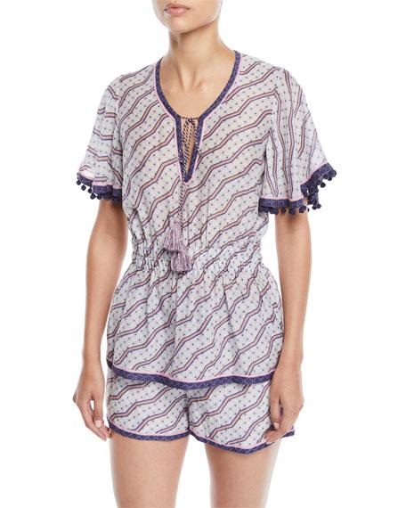 Talitha Collection Amyra Zigzag-Print Tunic Blouse w/ Tassel