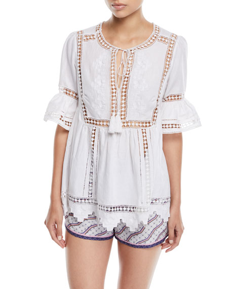 Tie-Front Short-Sleeve Lace-Insert Cotton Gypsy Blouse