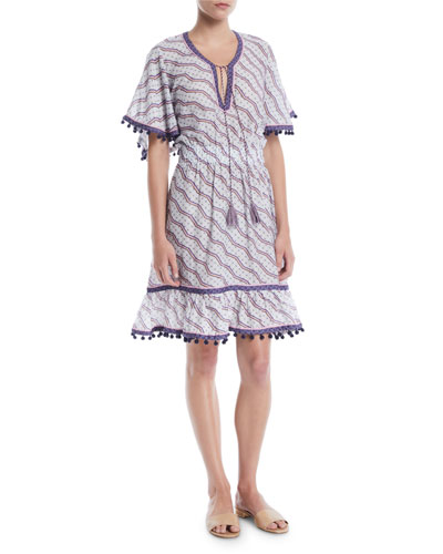 Amyra Short-Sleeve Zigzag-Print Short Dress w/ Pompom Trim