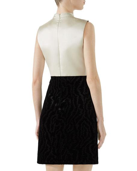 High-Neck Sleeveless A-Line Silk Duchess Dress