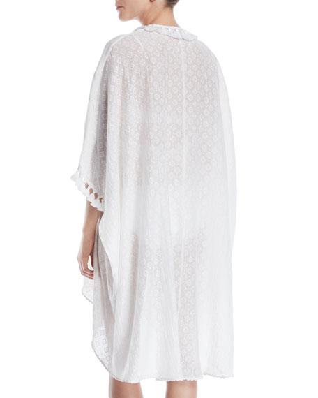 Tassel-Tie Long-Sleeve Cutwork Cotton-Silk Caftan Dress Coverup