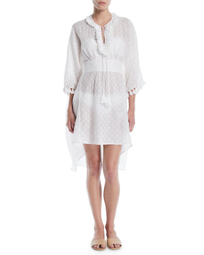 Tassel-Tie Long-Sleeve Cutwork Cotton-Silk Caftan Dress Coverup