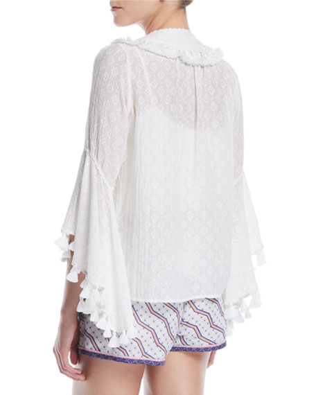 Elbow Frill Sleeve V-Neck Embroidered Peasant Blouse