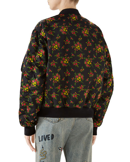 Bouquet-Print Zip-Front Woven Bomber Jacket