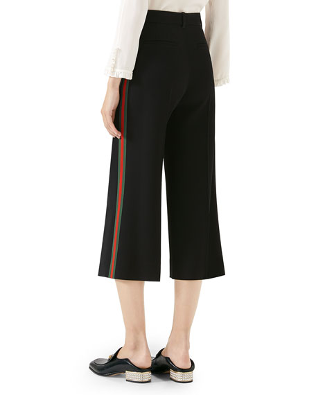 Cropped Culotte Pants w/ Web Stripe