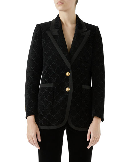 Gg Velvet Peak-Lapel Single-Breasted Two-Button Jacket in Black