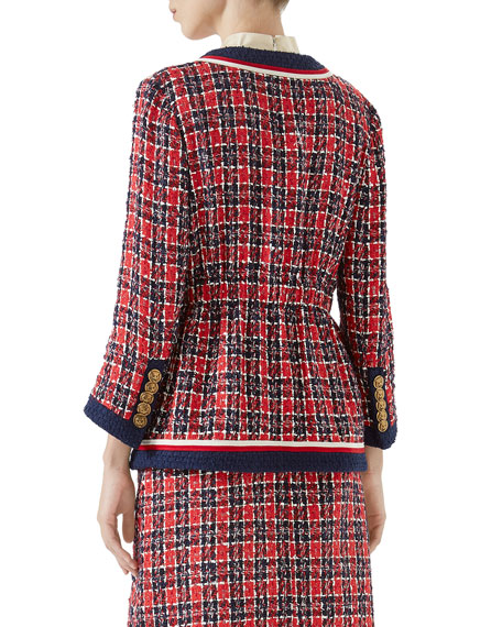 Button-Front 4-Pocket Woven Tweed Jacket w/ Fitted Waist