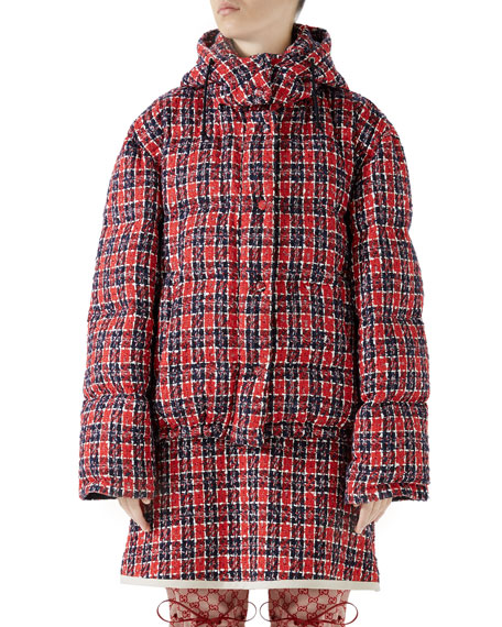 Tweed Hooded Puffer Jacket