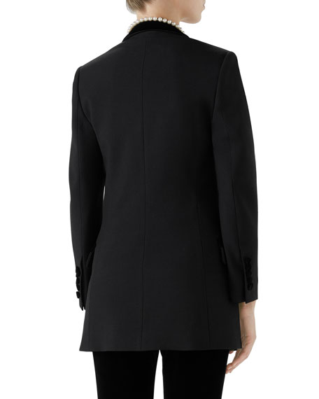 Peak-Lapel One-Button Wool Jacket w/ Velvet Trim & Pearl-Embroidery
