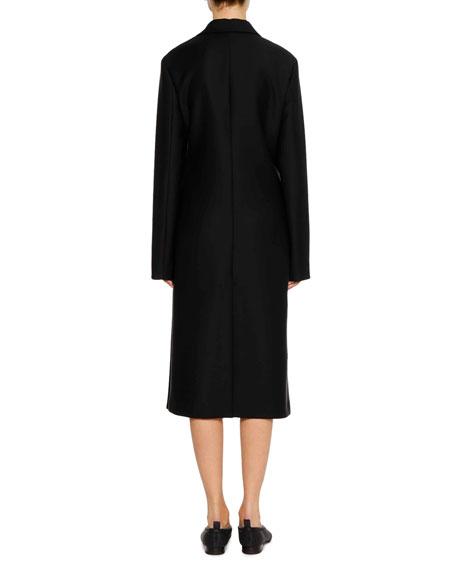 Asymmetric-Closure Cashmere Coat with Ruffle Edge