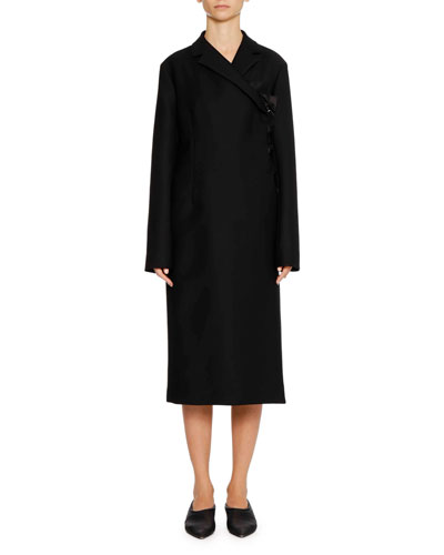 Asymmetric-Closure Cashmere Coat with Ruffle Edge