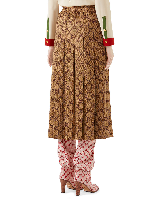 ef81cbeb04fd2b Gucci GG-Print Technical Jersey Pleated Midi Skirt | Neiman Marcus