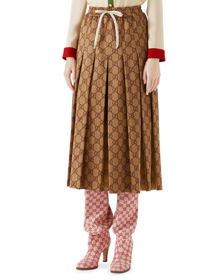 Gg-Print Technical Jersey Pleated Midi Skirt in Brown