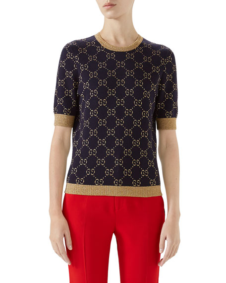 Gucci Crewneck Short-Sleeve Metallic GG Jacquard Sweater