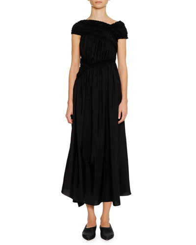 Asymmetric-Bodice A-Line Long Dress