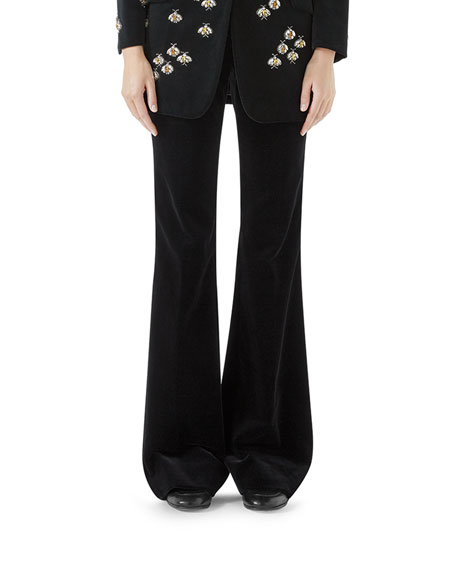 Stretch-Cotton Velvet Flare Pants