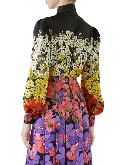 Long-Sleeve Floral Degrade Twill Blouse w/ Tie Neck