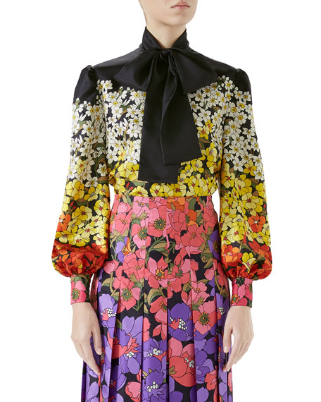 Long-Sleeve Floral Dégradé Twill Blouse w/ Tie Neck