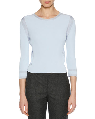 3/4-Sleeve Viscose Knit Top, Light Blue