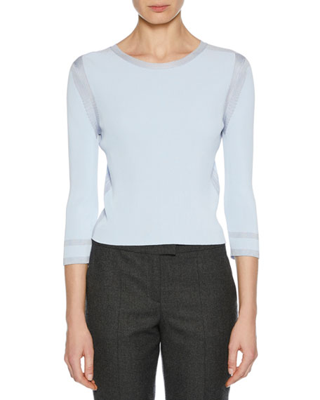 3/4-Sleeve Viscose Knit Top, Light Blue