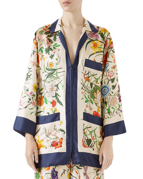 Gucci Floral-Print Zip-Front Silk Twill Pajama Top and