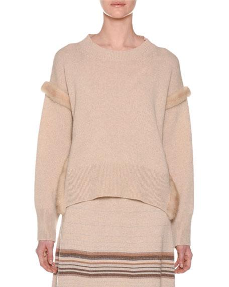 Agnona Cashmere Sweater with Mink Fur Ribbon Details,