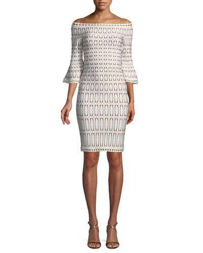 Off-the-Shoulder Bell-Sleeve Tiled-Jacquard Body-con Cocktail Dress