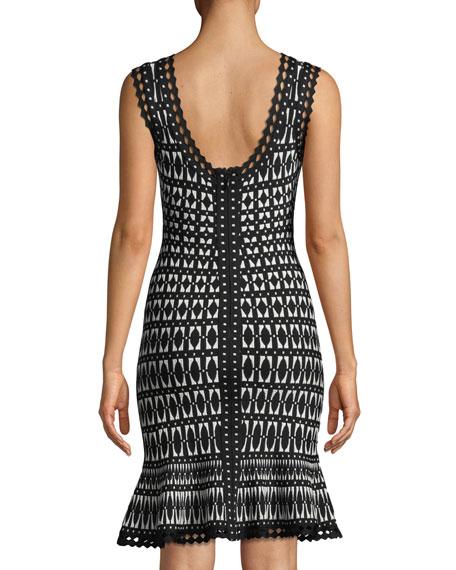 Flutter-Hem Tile-Jacquard Cocktail Sheath Dress
