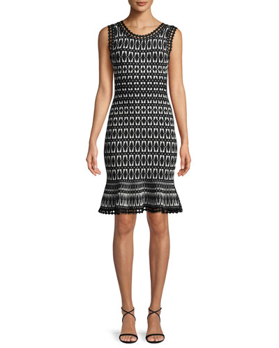 Flutter-Hem Tile-Jacquard Cocktail Sheath Dress