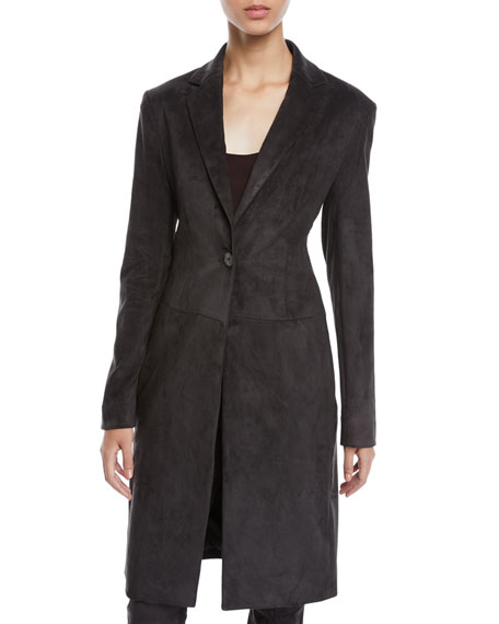 One-Button Lambskin Suede Long Coat
