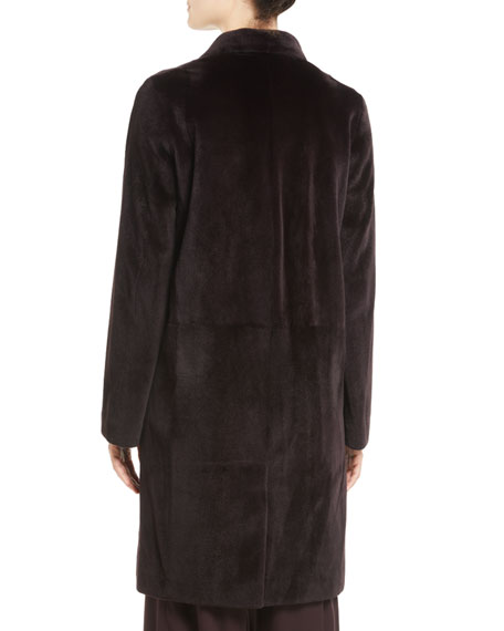 Doman Notched-Lapel Hook-Front Mink Fur Jacket