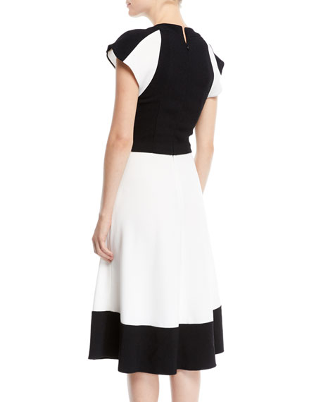 V-Neck Sleeveless Colorblocked Dress w/ Tie-Waist Detail