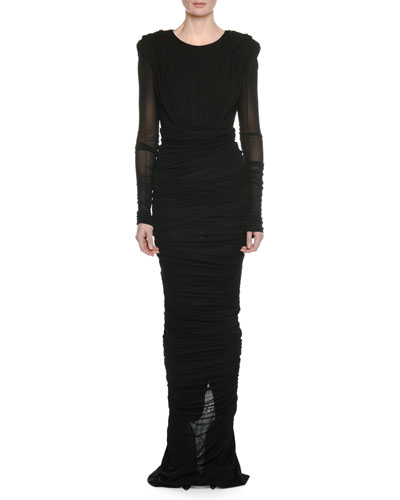 Long-Sleeve Round-Neck Shirred Evening Gown w/ Hood