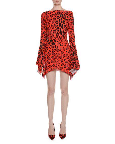 Deep-V Back Flutter-Sleeve Jaguar-Print Dress w/ Handkerchief Hem
