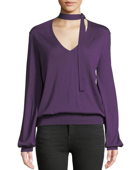 V-Neck w/ Ties Blouson Long-Sleeve Cashmere-Silk Knit Top