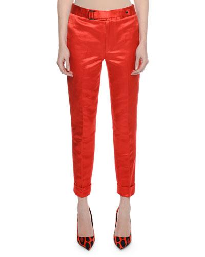 Slim Cotton-Silk Satin Pants w/ Cuff & Waistband Detail