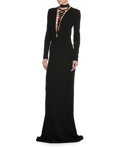 Deep-V Lace-Up Long-Sleeve Viscose Jersey Evening Gown