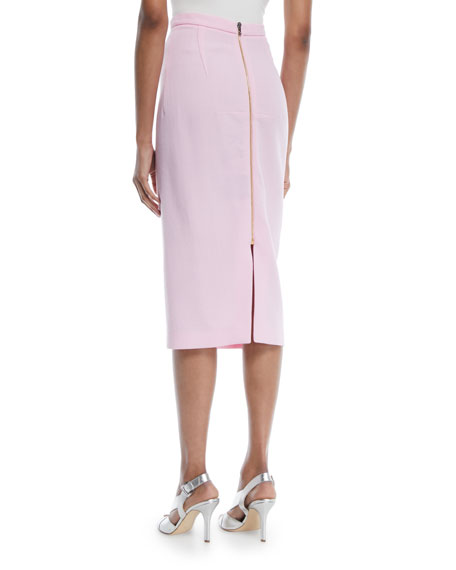 Slim Straight Wool Midi Skirt w/ Back Zip