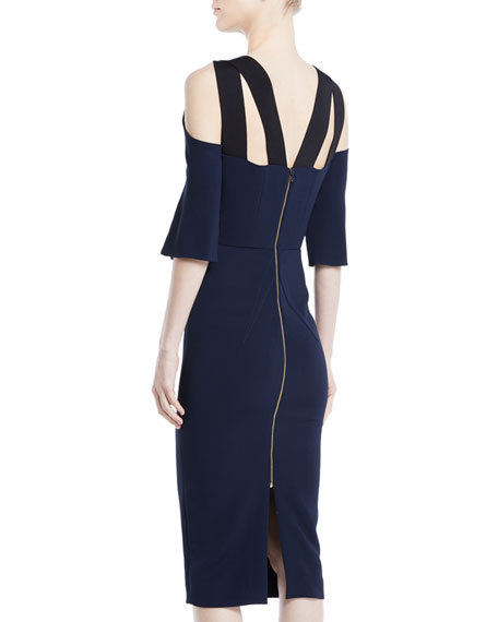 Keyhole Slit-Sleeve Midi Crepe Sheath Dress