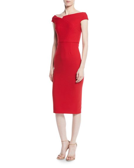 Off-the-Shoulder Cap-Sleeve Crepe Sheath Dress