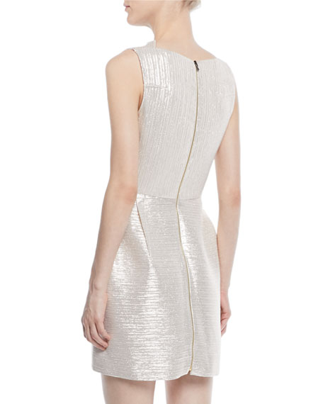 Sleeveless Tucked Neckline Striped Metallic Mini Cocktail Dress