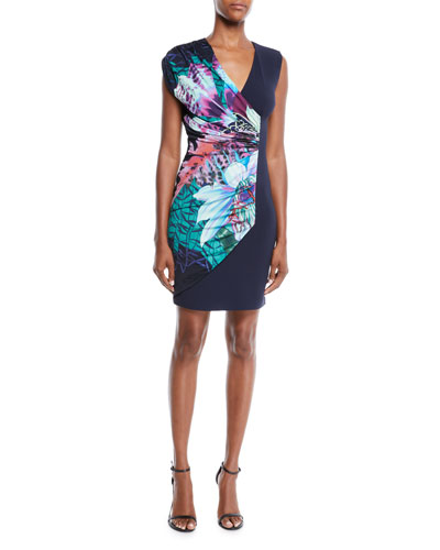 V-Neck Sleeveless Ruched Exotic Floral-Print Jersey Dress