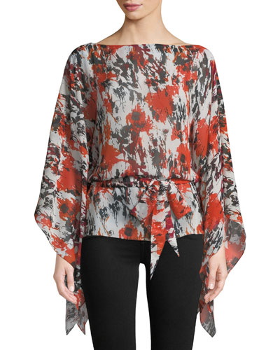 Bateau-Neck Draped-Sleeve Belted Abstract-Print Silk Georgette Caftan Blouse