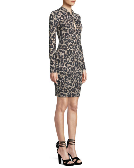 Long-Sleeve Twist-Neck Leopard-Print Body-Con Mini Dress