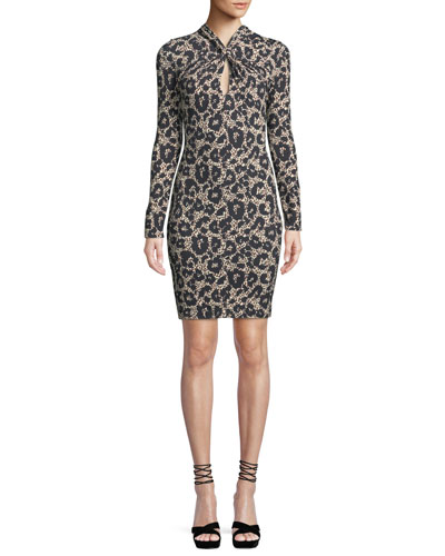 Long-Sleeve Twist-Neck Leopard-Print Body-Con Mini Dress